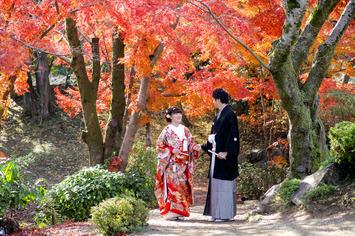 満開の紅葉の中で幸せのフォトウェディング【滋賀県彦根市】